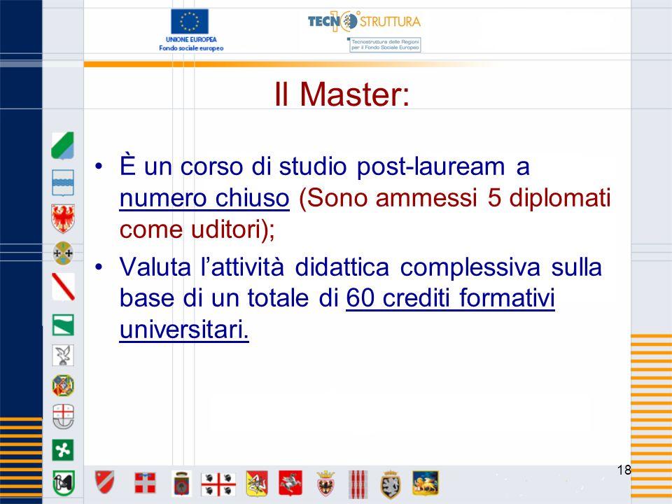 18 Il Master: È un corso di studio post-lauream a numero chiuso (Sono ammessi 5 diplomati come uditori); Valuta lattività didattica complessiva sulla base di un totale di 60 crediti formativi universitari.