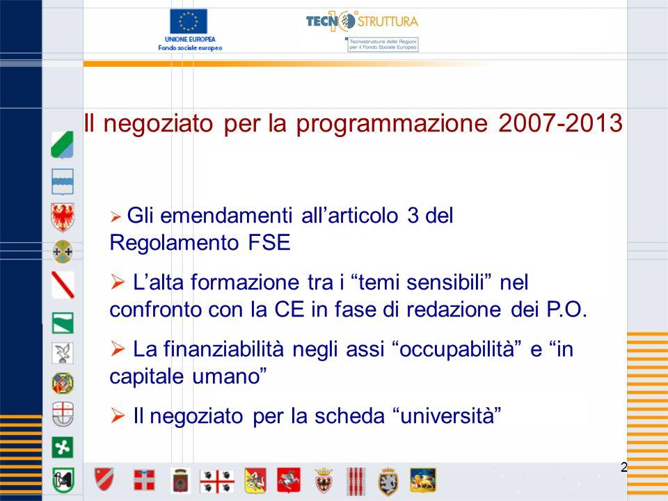 2 Il negoziato per la programmazione 2007-2013 Gli emendamenti allarticolo 3 del Regolamento FSE Lalta formazione tra i temi sensibili nel confronto con la CE in fase di redazione dei P.O.