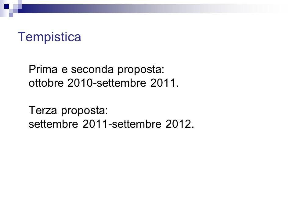 Tempistica Prima e seconda proposta: ottobre 2010-settembre 2011.