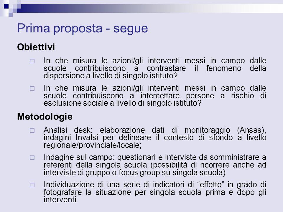 Prima proposta - segue Obiettivi In che misura le azioni/gli interventi messi in campo dalle scuole contribuiscono a contrastare il fenomeno della dispersione a livello di singolo istituto.