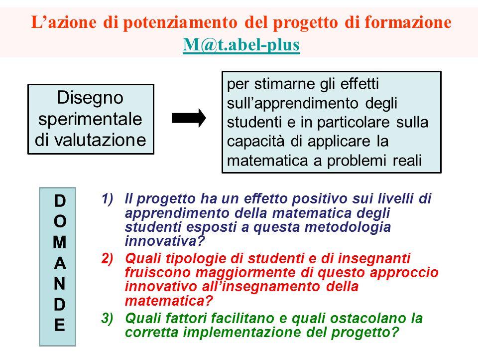 Disegno sperimentale di valutazione Lazione di potenziamento del progetto di formazione M@t.abel-plus M@t.abel-plus DOMANDEDOMANDE 1)Il progetto ha un