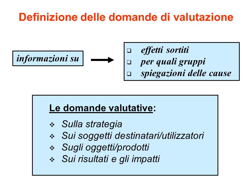 Definizione delle domande di valutazione informazioni su effetti sortiti per quali gruppi spiegazioni delle cause Le domande valutative: Sulla strateg