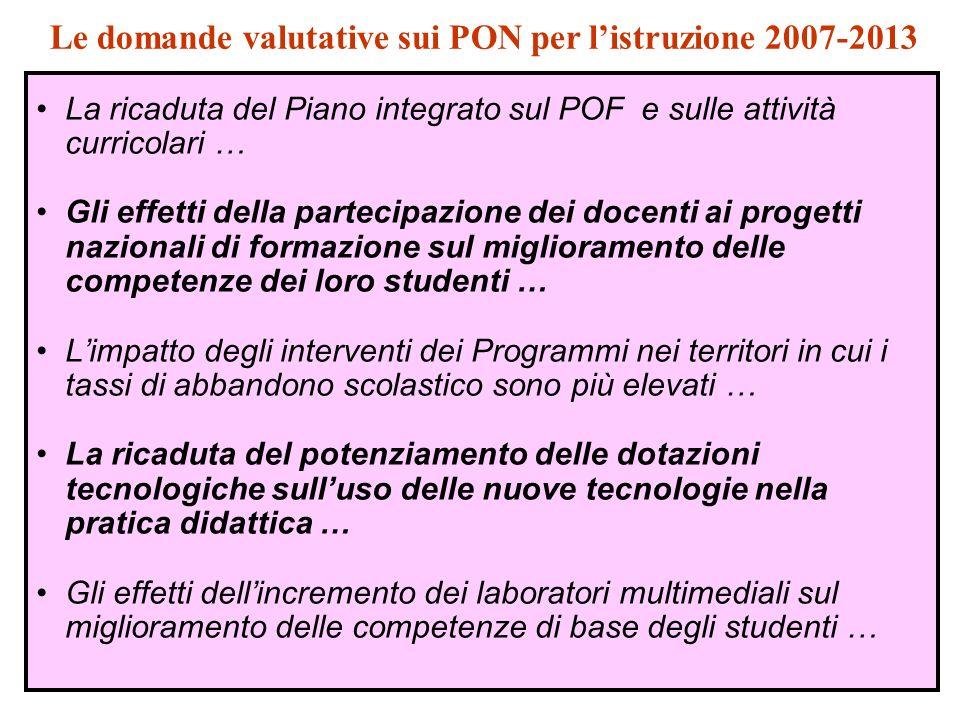 La ricaduta del Piano integrato sul POF e sulle attività curricolari … Gli effetti della partecipazione dei docenti ai progetti nazionali di formazion