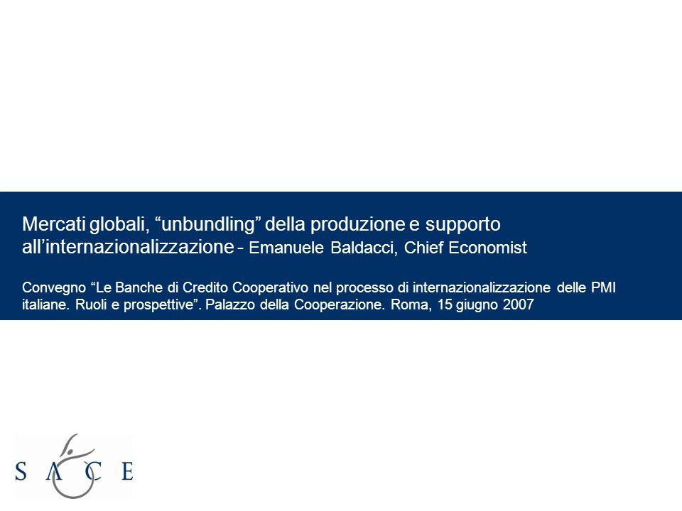 EMPOWER YOUR BUSINESS 1 Mercati globali, unbundling della produzione e supporto allinternazionalizzazione - Emanuele Baldacci, Chief Economist Convegno Le Banche di Credito Cooperativo nel processo di internazionalizzazione delle PMI italiane.