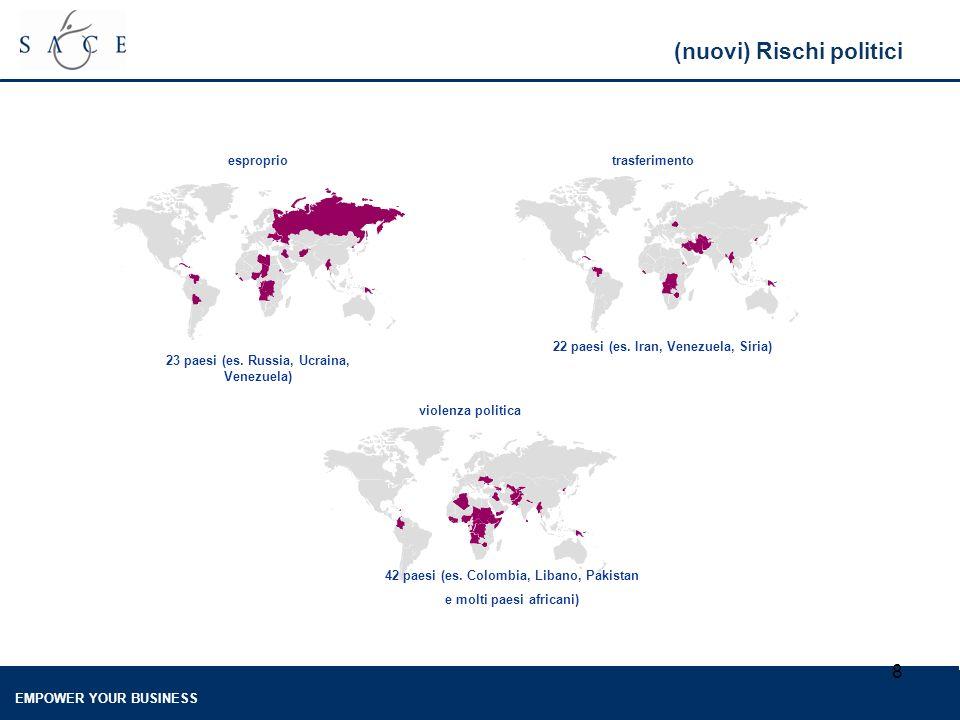 EMPOWER YOUR BUSINESS 8 (nuovi) Rischi politici esproprio violenza politica 23 paesi (es.
