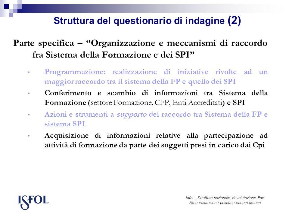 Isfol – Struttura nazionale di valutazione Fse Area valutazione politiche risorse umane Visualizzazione di un quadro istituzionale e organizzativo restituito dai sistemi locali coinvolti nella rilevazione, articolabile su diversi livelli di dettaglio 1.