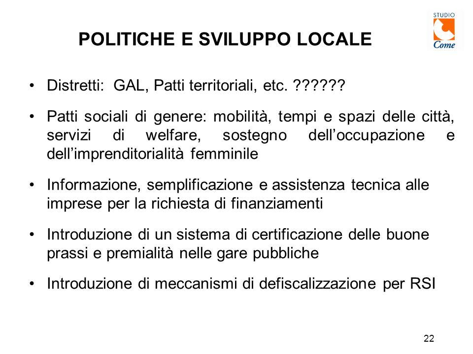 22 POLITICHE E SVILUPPO LOCALE Distretti: GAL, Patti territoriali, etc.