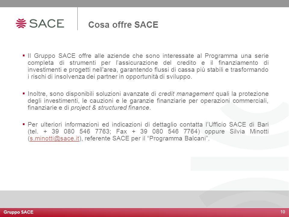 10 Il Gruppo SACE offre alle aziende che sono interessate al Programma una serie completa di strumenti per lassicurazione del credito e il finanziamen