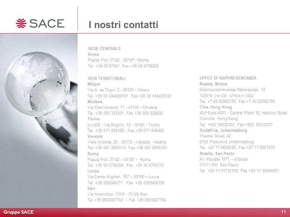 Gruppo SACE 12 Questa presentazione è stata redatta da SACE SpA a solo scopo informativo.