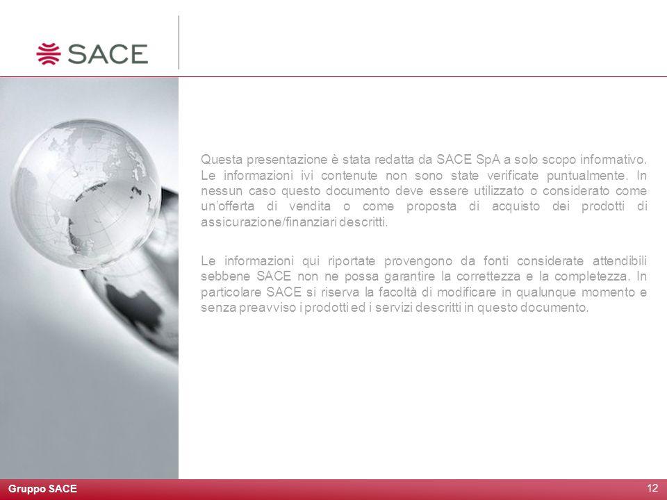 Gruppo SACE 12 Questa presentazione è stata redatta da SACE SpA a solo scopo informativo. Le informazioni ivi contenute non sono state verificate punt