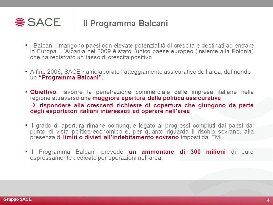 Gruppo SACE 4 I Balcani rimangono paesi con elevate potenzialità di crescita e destinati ad entrare in Europa. LAlbania nel 2009 è stato lunico paese