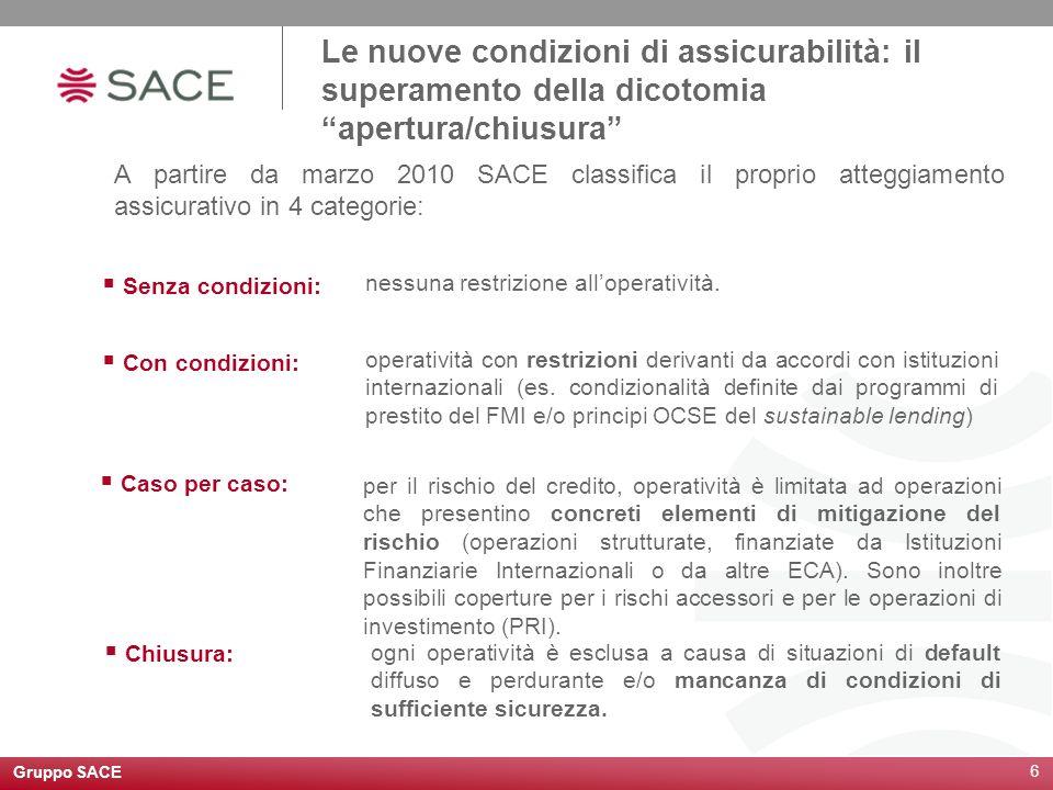 Gruppo SACE 6 Le nuove condizioni di assicurabilità: il superamento della dicotomia apertura/chiusura A partire da marzo 2010 SACE classifica il propr