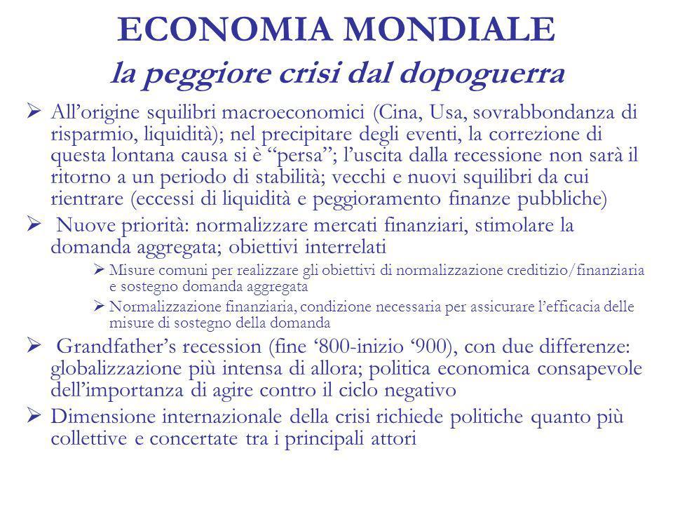 ECONOMIA MONDIALE la peggiore crisi dal dopoguerra Allorigine squilibri macroeconomici (Cina, Usa, sovrabbondanza di risparmio, liquidità); nel precipitare degli eventi, la correzione di questa lontana causa si è persa; luscita dalla recessione non sarà il ritorno a un periodo di stabilità; vecchi e nuovi squilibri da cui rientrare (eccessi di liquidità e peggioramento finanze pubbliche) Nuove priorità: normalizzare mercati finanziari, stimolare la domanda aggregata; obiettivi interrelati Misure comuni per realizzare gli obiettivi di normalizzazione creditizio/finanziaria e sostegno domanda aggregata Normalizzazione finanziaria, condizione necessaria per assicurare lefficacia delle misure di sostegno della domanda Grandfathers recession (fine 800-inizio 900), con due differenze: globalizzazione più intensa di allora; politica economica consapevole dellimportanza di agire contro il ciclo negativo Dimensione internazionale della crisi richiede politiche quanto più collettive e concertate tra i principali attori