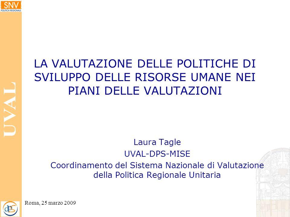 Roma, 25 marzo 2009 LA VALUTAZIONE DELLE POLITICHE DI SVILUPPO DELLE RISORSE UMANE NEI PIANI DELLE VALUTAZIONI Laura Tagle UVAL-DPS-MISE Coordinamento