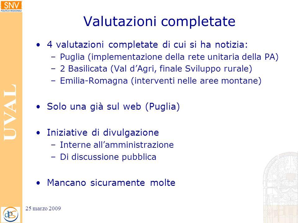 Valutazioni completate 4 valutazioni completate di cui si ha notizia: –Puglia (implementazione della rete unitaria della PA) –2 Basilicata (Val dAgri,
