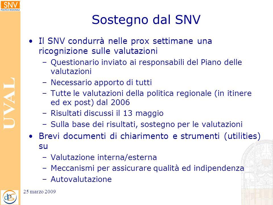 Sostegno dal SNV Il SNV condurrà nelle prox settimane una ricognizione sulle valutazioni –Questionario inviato ai responsabili del Piano delle valutaz
