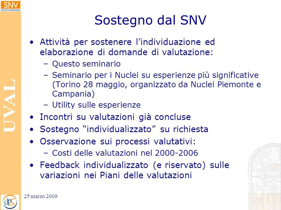 Sostegno dal SNV Attività per sostenere lindividuazione ed elaborazione di domande di valutazione: –Questo seminario –Seminario per i Nuclei su esperi