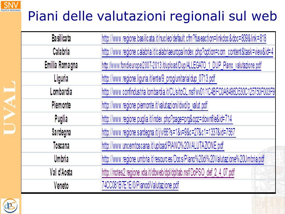 Piani delle valutazioni regionali sul web