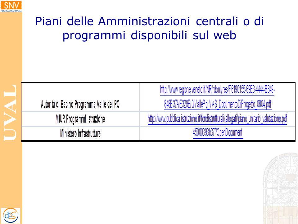 Piani delle Amministrazioni centrali o di programmi disponibili sul web