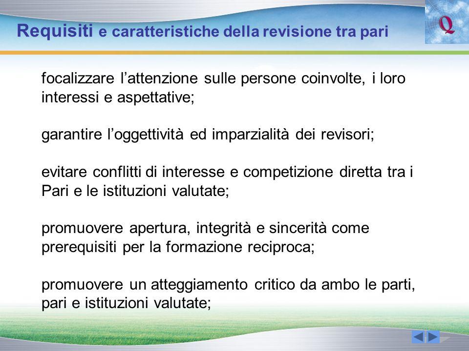Requisiti e caratteristiche della revisione tra pari focalizzare lattenzione sulle persone coinvolte, i loro interessi e aspettative; garantire logget