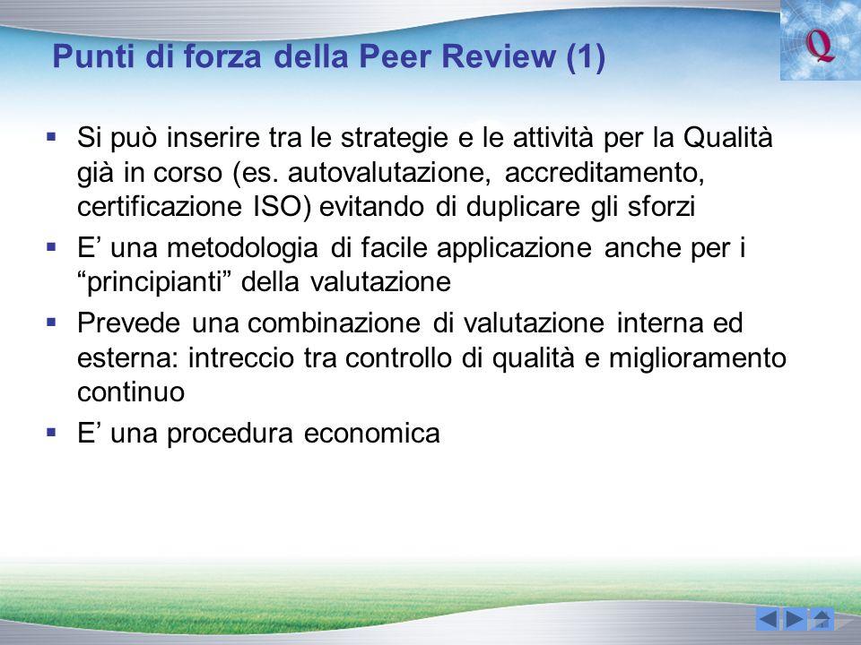 Punti di forza della Peer Review (1) Si può inserire tra le strategie e le attività per la Qualità già in corso (es. autovalutazione, accreditamento,