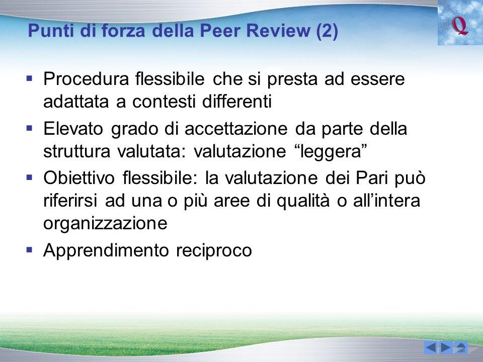 Punti di forza della Peer Review (2) Procedura flessibile che si presta ad essere adattata a contesti differenti Elevato grado di accettazione da part
