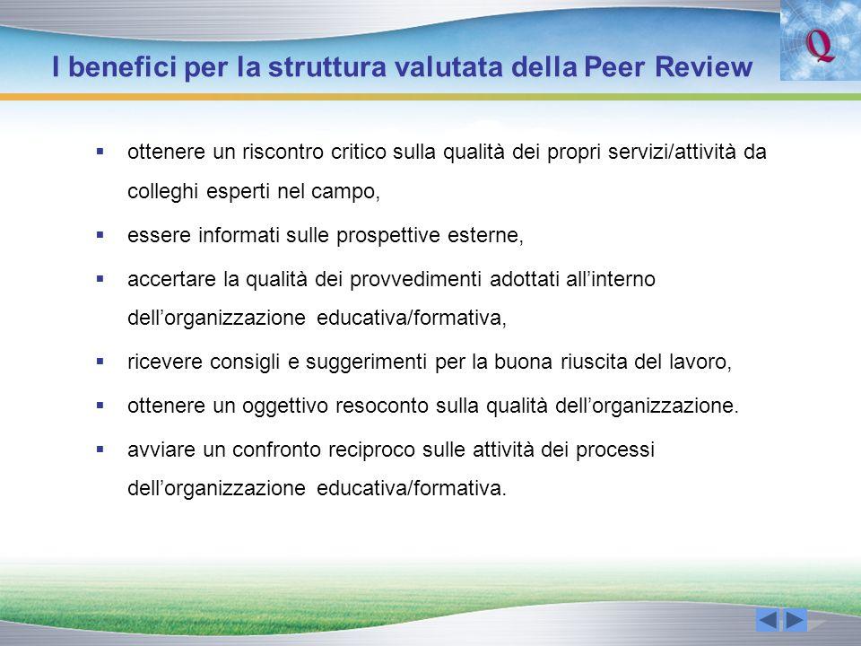 I benefici per la struttura valutata della Peer Review ottenere un riscontro critico sulla qualità dei propri servizi/attività da colleghi esperti nel