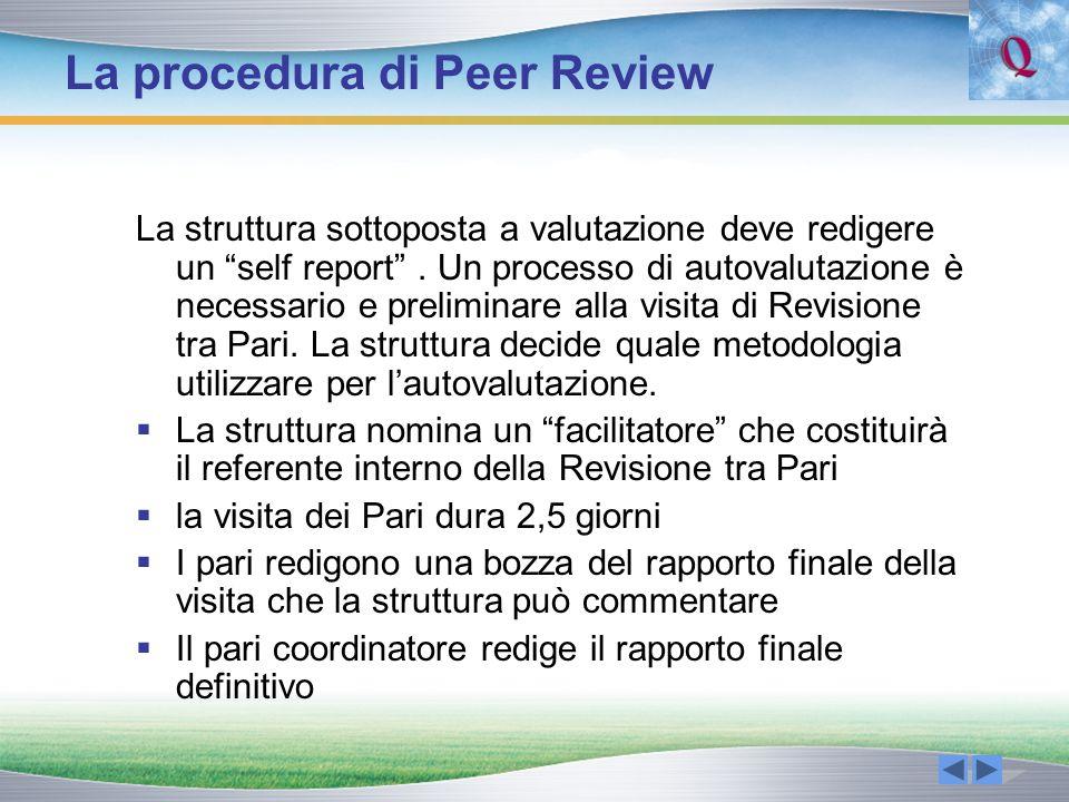 La procedura di Peer Review La struttura sottoposta a valutazione deve redigere un self report. Un processo di autovalutazione è necessario e prelimin