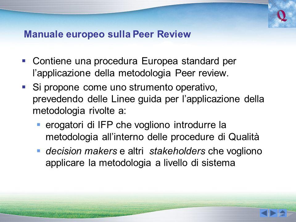 Manuale europeo sulla Peer Review Contiene una procedura Europea standard per lapplicazione della metodologia Peer review. Si propone come uno strumen