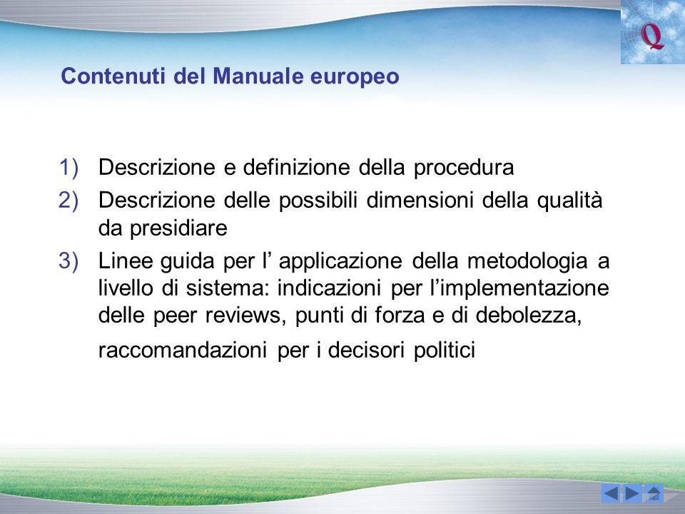 Contenuti del Manuale europeo 1)Descrizione e definizione della procedura 2)Descrizione delle possibili dimensioni della qualità da presidiare 3)Linee