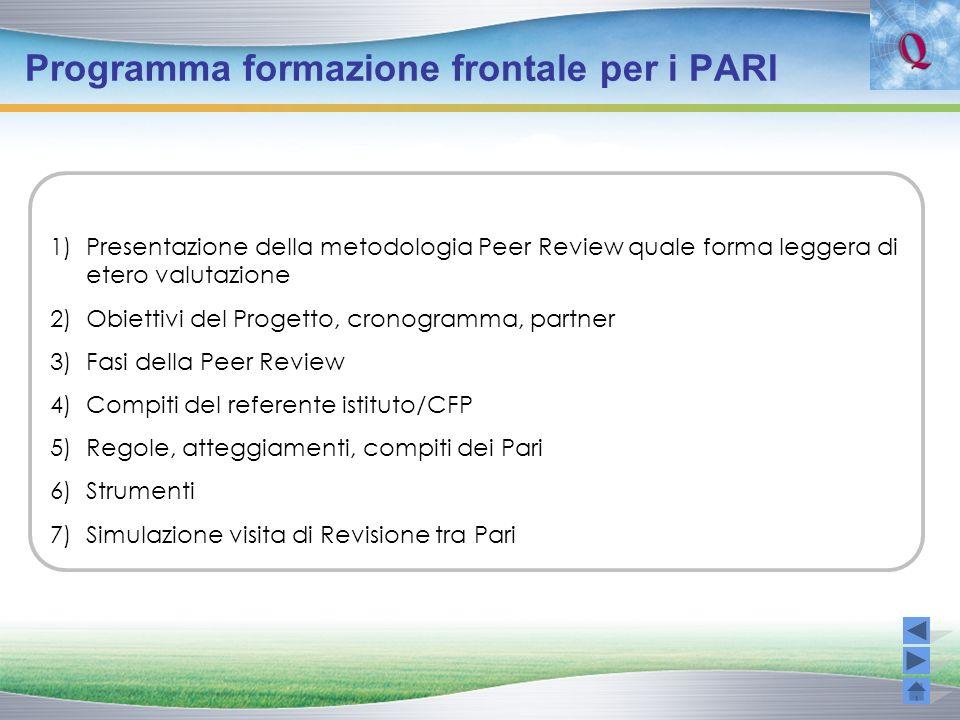 Programma formazione frontale per i PARI 1)Presentazione della metodologia Peer Review quale forma leggera di etero valutazione 2)Obiettivi del Proget