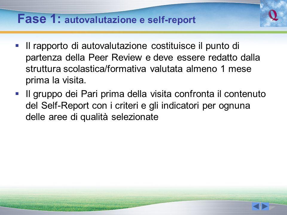 Fase 1: autovalutazione e self-report Il rapporto di autovalutazione costituisce il punto di partenza della Peer Review e deve essere redatto dalla st