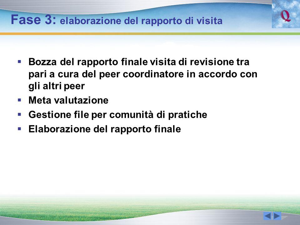 Fase 3: elaborazione del rapporto di visita Bozza del rapporto finale visita di revisione tra pari a cura del peer coordinatore in accordo con gli alt