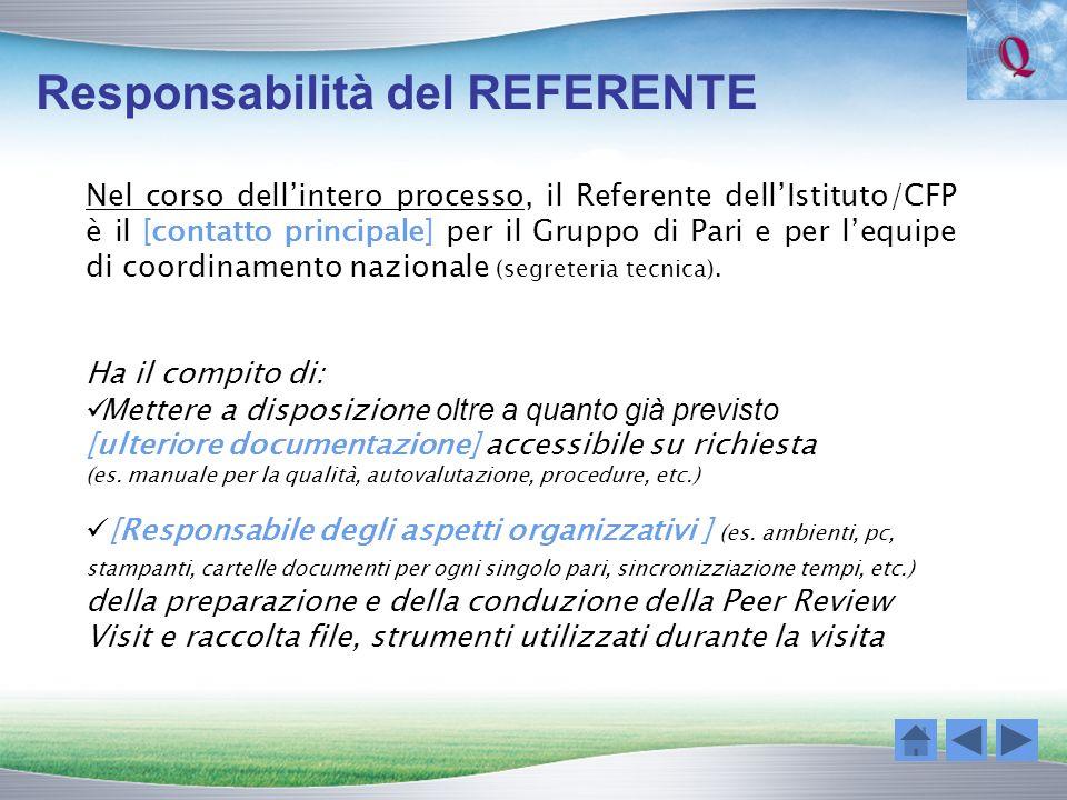 Responsabilità del REFERENTE Nel corso dellintero processo, il Referente dellIstituto/CFP è il [contatto principale] per il Gruppo di Pari e per lequi