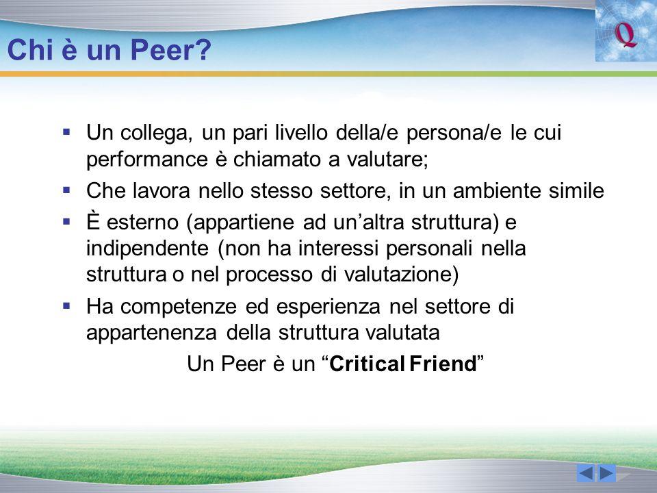 Chi è un Peer? Un collega, un pari livello della/e persona/e le cui performance è chiamato a valutare; Che lavora nello stesso settore, in un ambiente