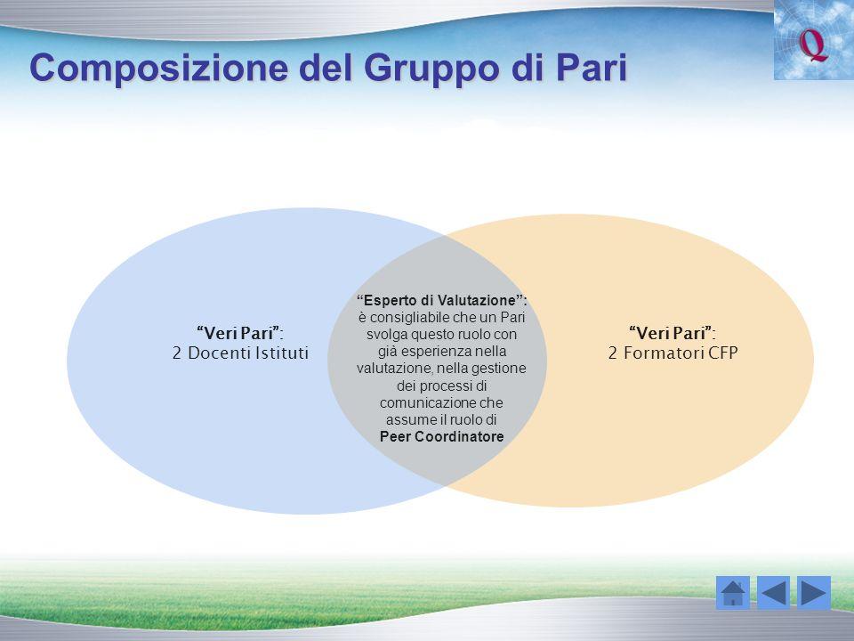 Composizione del Gruppo di Pari Veri Pari: 2 Formatori CFP Esperto di Valutazione: è consigliabile che un Pari svolga questo ruolo con già esperienza