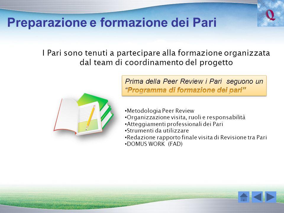 Preparazione e formazione dei Pari I Pari sono tenuti a partecipare alla formazione organizzata dal team di coordinamento del progetto Metodologia Pee