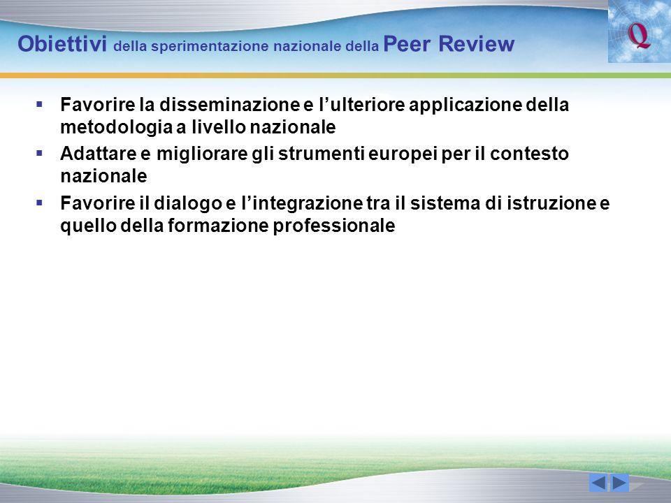 Obiettivi della sperimentazione nazionale della Peer Review Favorire la disseminazione e lulteriore applicazione della metodologia a livello nazionale