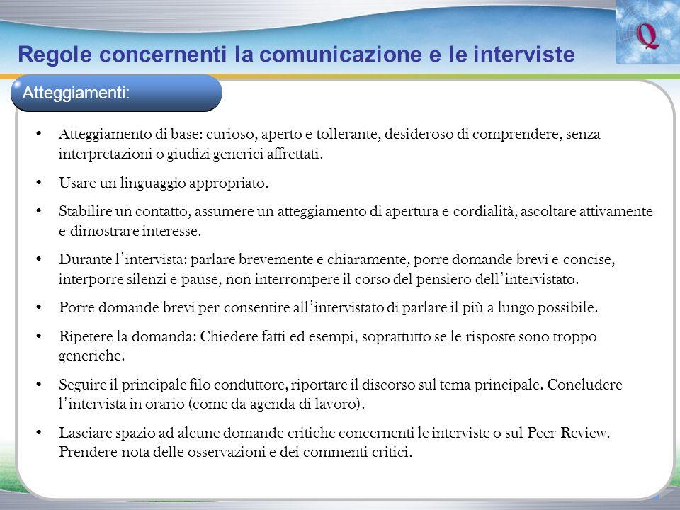 Regole concernenti la comunicazione e le interviste Atteggiamento di base: curioso, aperto e tollerante, desideroso di comprendere, senza interpretazi