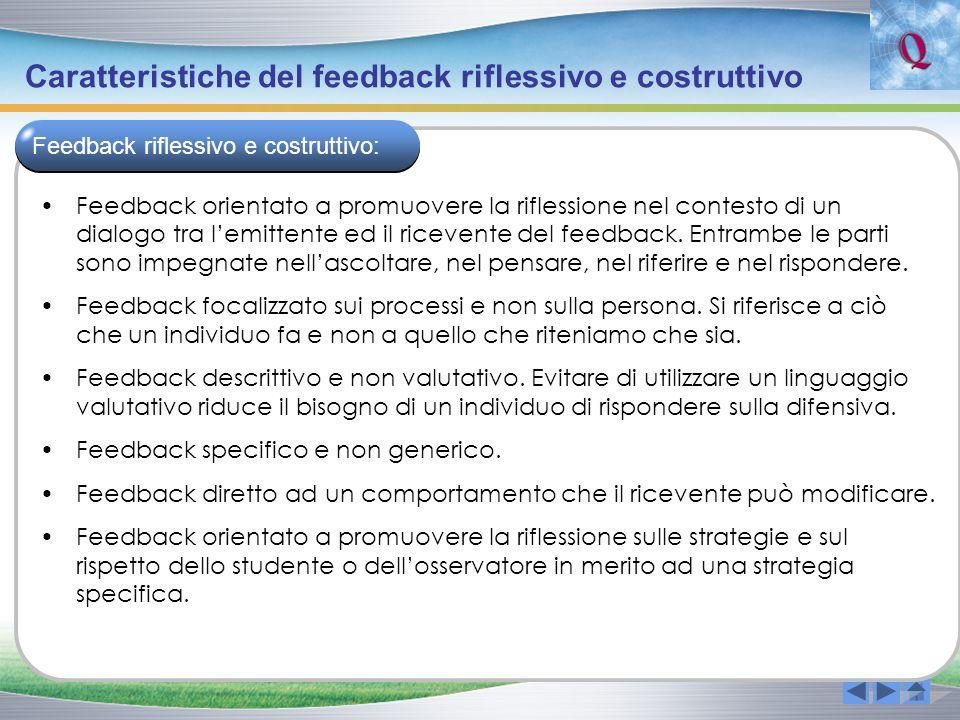 Caratteristiche del feedback riflessivo e costruttivo Feedback orientato a promuovere la riflessione nel contesto di un dialogo tra lemittente ed il r