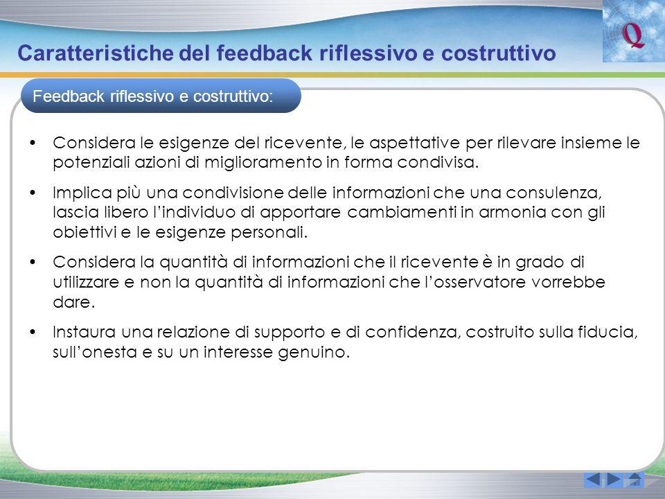 Caratteristiche del feedback riflessivo e costruttivo Considera le esigenze del ricevente, le aspettative per rilevare insieme le potenziali azioni di