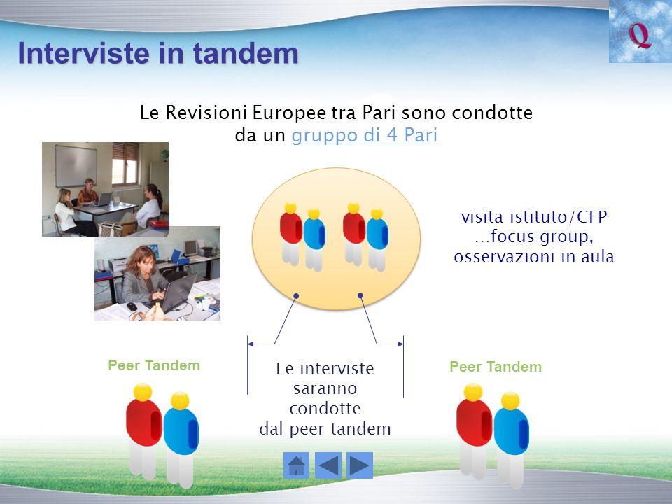 Interviste in tandem Le Revisioni Europee tra Pari sono condotte da un gruppo di 4 Pari Peer Tandem Le interviste saranno condotte dal peer tandem vis