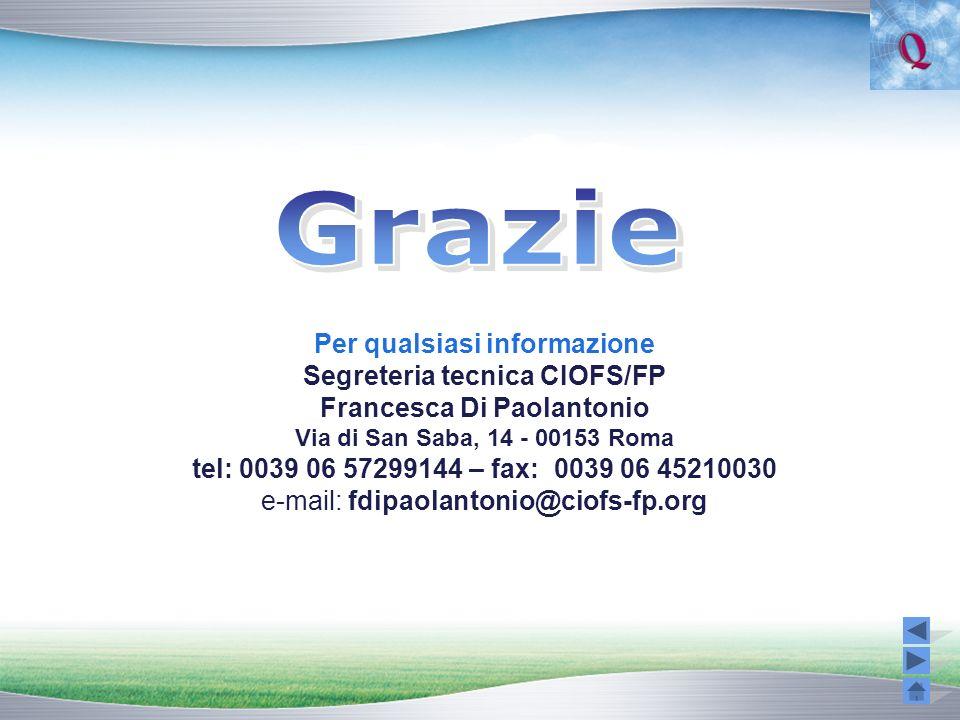 Per qualsiasi informazione Segreteria tecnica CIOFS/FP Francesca Di Paolantonio Via di San Saba, 14 - 00153 Roma tel: 0039 06 57299144 – fax: 0039 06