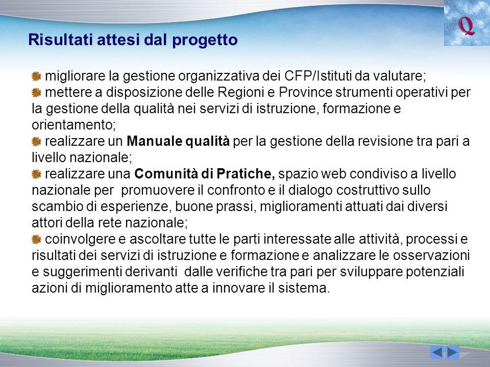 migliorare la gestione organizzativa dei CFP/Istituti da valutare; mettere a disposizione delle Regioni e Province strumenti operativi per la gestione