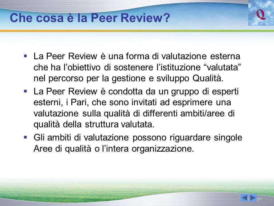 Caratteristiche della Peer Review Valutazione formativa esterna Volontaria Qualitativa: si tratta di una valutazione qualitativa in cui ci si avvale delle informazioni quantitative disponibili Sviluppata tra reti di strutture scolastiche e formative