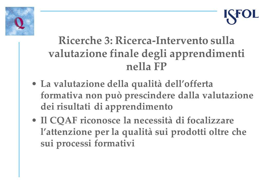 Ricerche 3: Ricerca-Intervento sulla valutazione finale degli apprendimenti nella FP La valutazione della qualità dellofferta formativa non può prescindere dalla valutazione dei risultati di apprendimento Il CQAF riconosce la necessità di focalizzare lattenzione per la qualità sui prodotti oltre che sui processi formativi