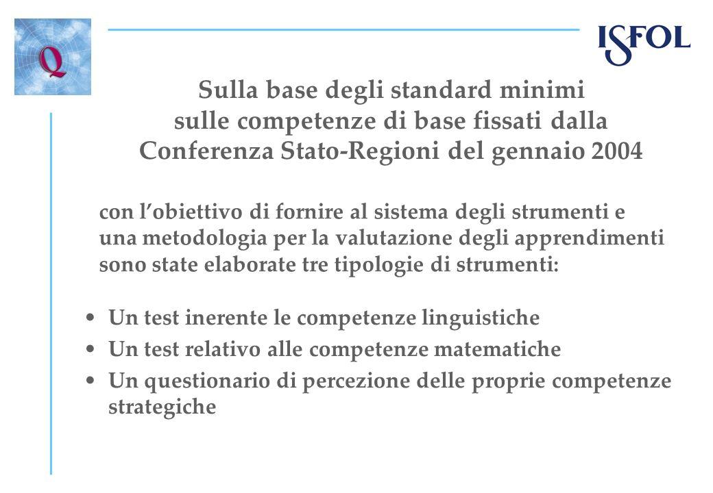 Sulla base degli standard minimi sulle competenze di base fissati dalla Conferenza Stato-Regioni del gennaio 2004 Un test inerente le competenze lingu
