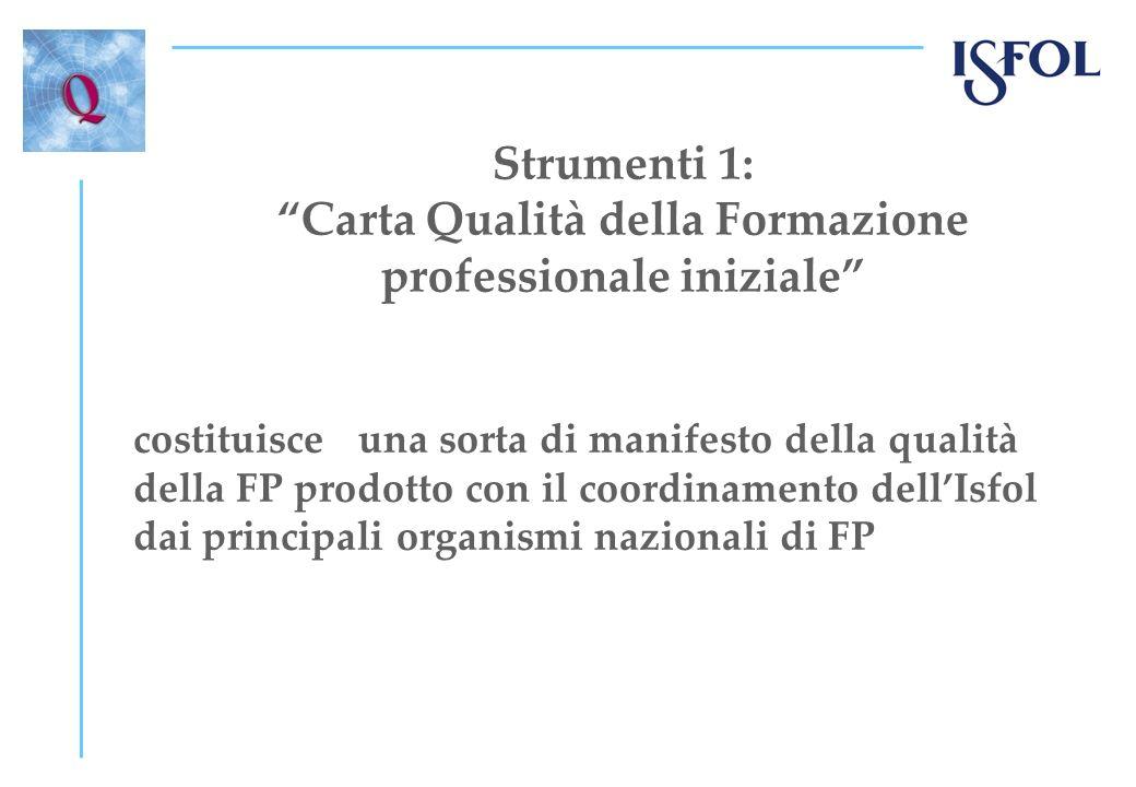Strumenti 1: Carta Qualità della Formazione professionale iniziale costituisce una sorta di manifesto della qualità della FP prodotto con il coordinamento dellIsfol dai principali organismi nazionali di FP