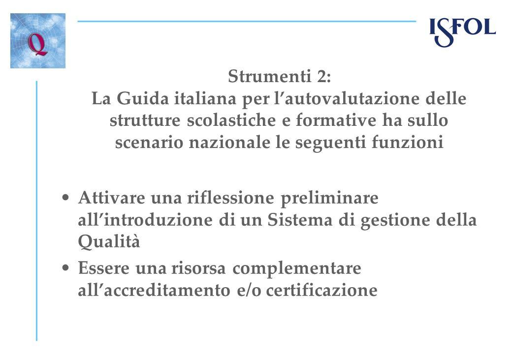 Strumenti 2: La Guida italiana per lautovalutazione delle strutture scolastiche e formative ha sullo scenario nazionale le seguenti funzioni Attivare una riflessione preliminare allintroduzione di un Sistema di gestione della Qualità Essere una risorsa complementare allaccreditamento e/o certificazione