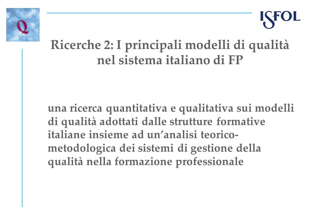 Ricerche 2: I principali modelli di qualità nel sistema italiano di FP una ricerca quantitativa e qualitativa sui modelli di qualità adottati dalle strutture formative italiane insieme ad unanalisi teorico- metodologica dei sistemi di gestione della qualità nella formazione professionale